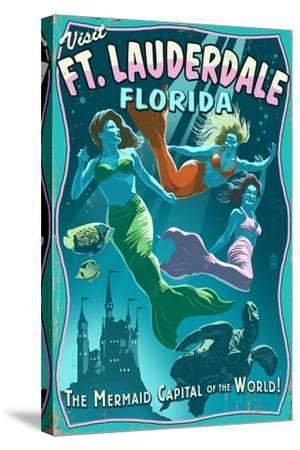 Ft. Lauderdale, Florida - Live Mermaids-Lantern Press-Stretched Canvas Print