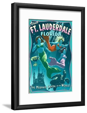 Ft. Lauderdale, Florida - Live Mermaids-Lantern Press-Framed Art Print