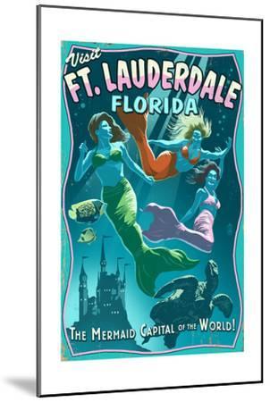 Ft. Lauderdale, Florida - Live Mermaids-Lantern Press-Mounted Art Print