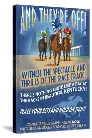 Kentucky - Horse Racing Vintage Sign-Lantern Press-Stretched Canvas Print