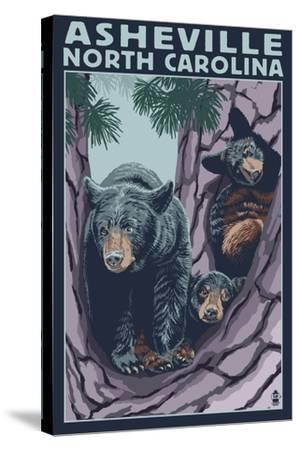 Asheville, North Carolina - Bear Family in Tree-Lantern Press-Stretched Canvas Print