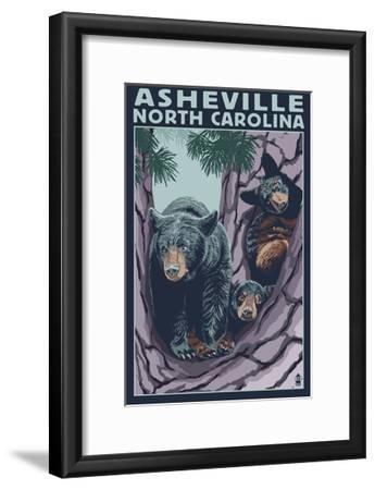 Asheville, North Carolina - Bear Family in Tree-Lantern Press-Framed Art Print
