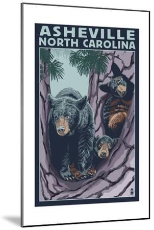 Asheville, North Carolina - Bear Family in Tree-Lantern Press-Mounted Art Print