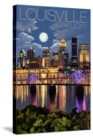 Louisville, Kentucky - Skyline at Night-Lantern Press-Stretched Canvas Print