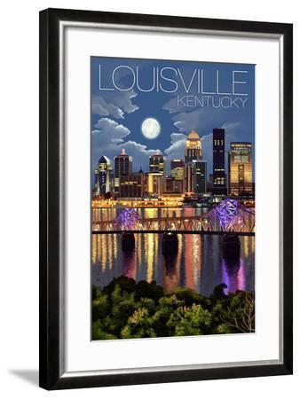 Louisville, Kentucky - Skyline at Night-Lantern Press-Framed Art Print
