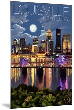 Louisville, Kentucky - Skyline at Night-Lantern Press-Mounted Art Print