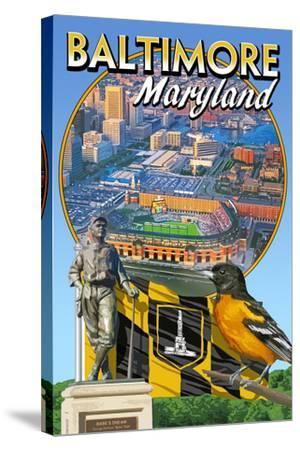 Baltimore, Maryland - Baseball Montage-Lantern Press-Stretched Canvas Print