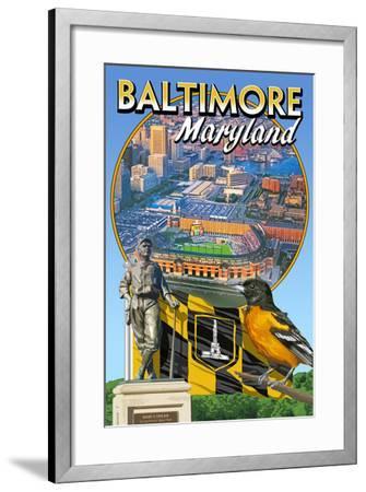 Baltimore, Maryland - Baseball Montage-Lantern Press-Framed Art Print