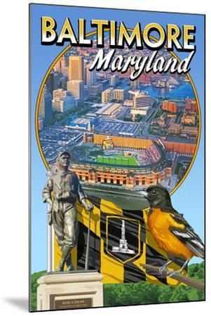 Baltimore, Maryland - Baseball Montage-Lantern Press-Mounted Art Print