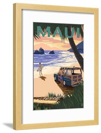 Woody and Beach - Maui, Hawaii-Lantern Press-Framed Art Print