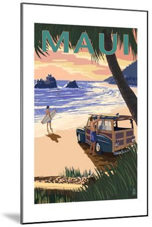 Woody and Beach - Maui, Hawaii-Lantern Press-Mounted Art Print