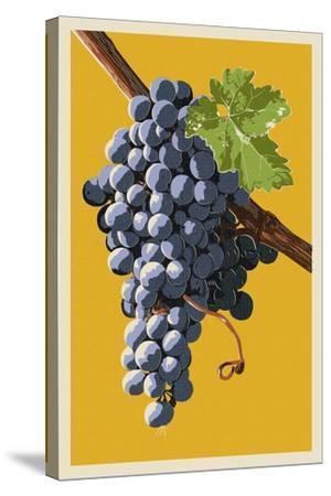 Wine Grapes-Lantern Press-Stretched Canvas Print