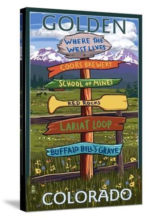 Golden, Colorado - Sign Destinations-Lantern Press-Stretched Canvas Print