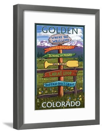 Golden, Colorado - Sign Destinations-Lantern Press-Framed Art Print