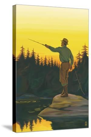 Fly Fishing Scene-Lantern Press-Stretched Canvas Print