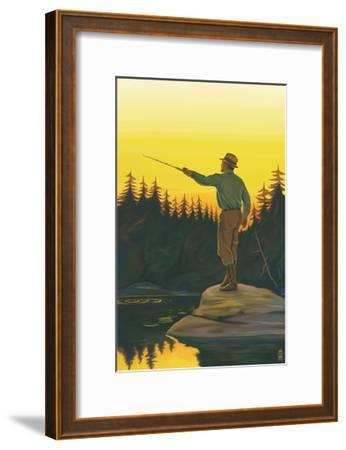 Fly Fishing Scene-Lantern Press-Framed Art Print