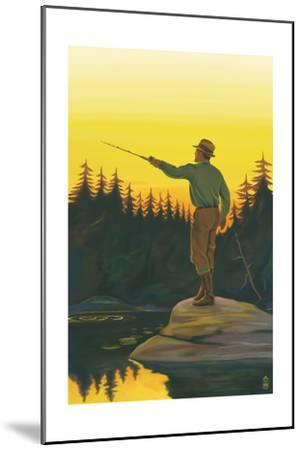 Fly Fishing Scene-Lantern Press-Mounted Art Print