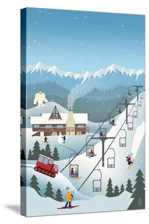 Retro Ski Resort-Lantern Press-Stretched Canvas Print