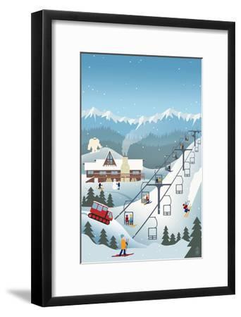 Retro Ski Resort-Lantern Press-Framed Art Print