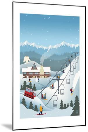 Retro Ski Resort-Lantern Press-Mounted Art Print