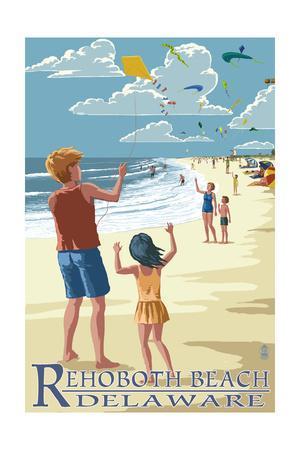 Rehoboth Beach, Delaware - Kite Flyers-Lantern Press-Framed Art Print