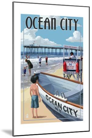 Ocean City, New Jersey - Lifeguard Stand-Lantern Press-Mounted Art Print
