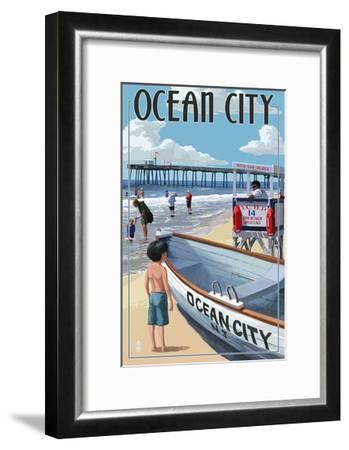 Ocean City, New Jersey - Lifeguard Stand-Lantern Press-Framed Art Print