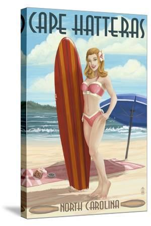 Cape Hatteras, North Carolina - Surfer Girl Pinup-Lantern Press-Stretched Canvas Print