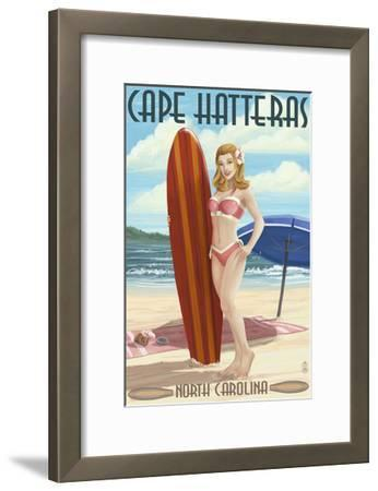Cape Hatteras, North Carolina - Surfer Girl Pinup-Lantern Press-Framed Art Print