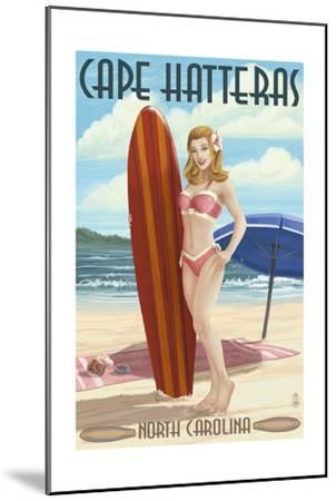 Cape Hatteras, North Carolina - Surfer Girl Pinup-Lantern Press-Mounted Art Print