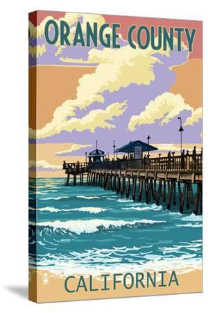 Orange County, California - Pier and Sunset-Lantern Press-Stretched Canvas Print