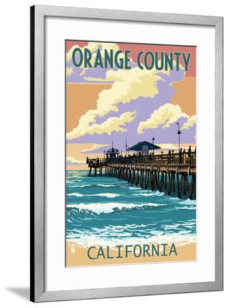 Orange County, California - Pier and Sunset-Lantern Press-Framed Art Print