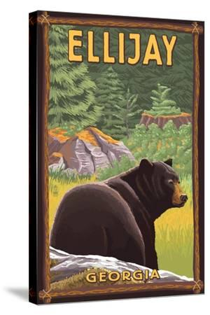 Ellijay, Georgia - Black Bear in Forest-Lantern Press-Stretched Canvas Print