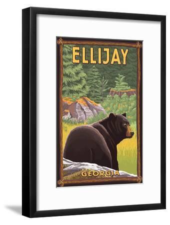 Ellijay, Georgia - Black Bear in Forest-Lantern Press-Framed Art Print
