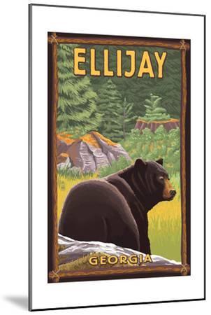 Ellijay, Georgia - Black Bear in Forest-Lantern Press-Mounted Art Print