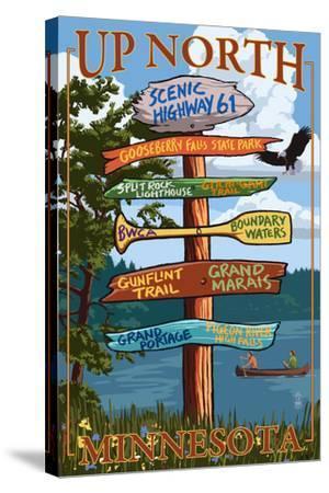Gooseberry Falls, Minnesota - Destination Signpost-Lantern Press-Stretched Canvas Print
