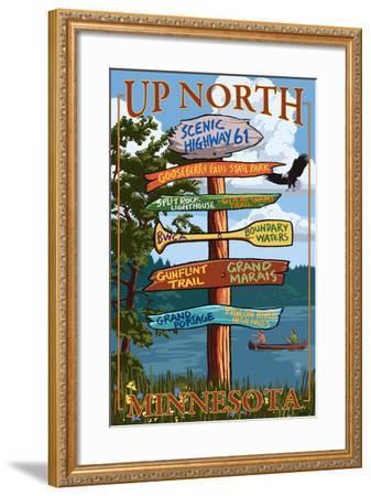 Gooseberry Falls, Minnesota - Destination Signpost-Lantern Press-Framed Art Print