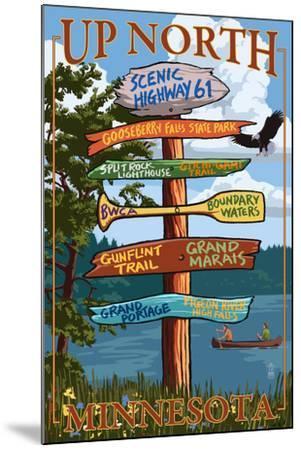 Gooseberry Falls, Minnesota - Destination Signpost-Lantern Press-Mounted Art Print