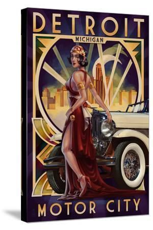 Detroit, Michigan - Deco Woman and Car-Lantern Press-Stretched Canvas Print