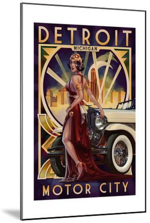 Detroit, Michigan - Deco Woman and Car-Lantern Press-Mounted Art Print