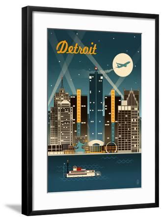 Detroit, Michigan - Retro Skyline-Lantern Press-Framed Art Print