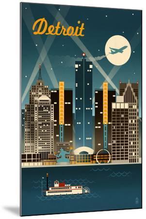Detroit, Michigan - Retro Skyline-Lantern Press-Mounted Art Print