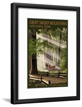 Great Smoky Mountains, North Carolina - Pathway in Trees-Lantern Press-Framed Art Print