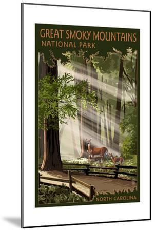 Great Smoky Mountains, North Carolina - Pathway in Trees-Lantern Press-Mounted Art Print