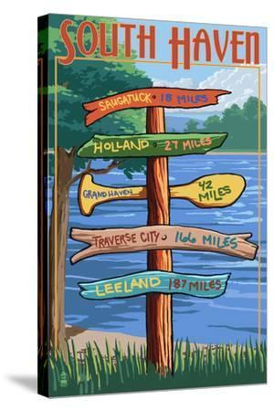 South Haven, Michigan - Sign Destinations-Lantern Press-Stretched Canvas Print