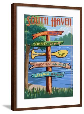South Haven, Michigan - Sign Destinations-Lantern Press-Framed Art Print