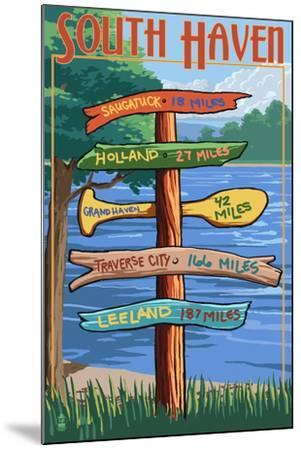 South Haven, Michigan - Sign Destinations-Lantern Press-Mounted Art Print