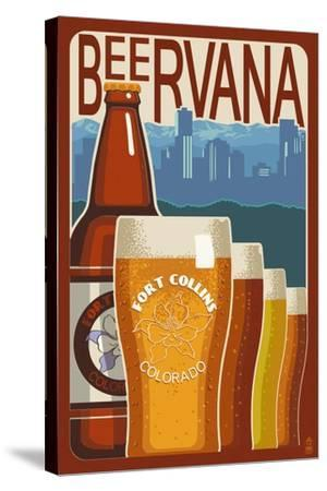 Fort Collins, Colorado - Beervana Vintage Sign-Lantern Press-Stretched Canvas Print