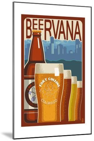 Fort Collins, Colorado - Beervana Vintage Sign-Lantern Press-Mounted Art Print