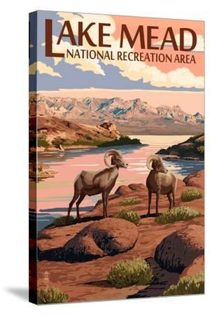Lake Mead - National Recreation Area - Bighorn Sheep-Lantern Press-Stretched Canvas Print